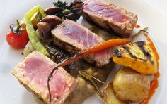 Tuna and organic vegetables grilled by Chef Drew Deckman.