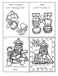 ***FREE*** Two nursery rhymes foldable booklets – Jack and Jill, and Baa Baa Black Sheep in b/w. Children cut out entire page, and fold as directed into booklet form.  Each rhyme can also be cut into four separate pictures, and used as sequence cards.