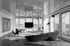 http://mosslounge.com/the-design-of-fascinating-tel-aviv-skyscraper-apartment/ The Design of Fascinating Tel Aviv Skyscraper Apartment : Amazing Living Room With Polygon Couch And Robotic Archlamp
