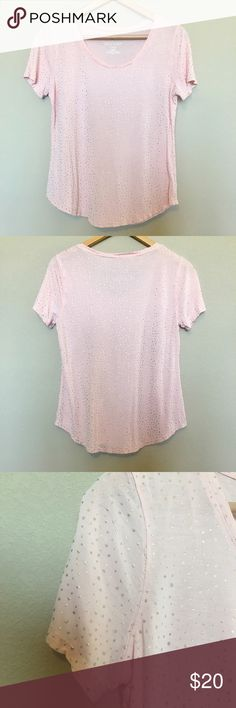 """Juicy Couture Pink with Shiny Gold Dots Tee Juicy Couture Pink with Shiny Gold Dots Tee  Like new!  •Size: Large •100% Rayon •Blush Pink Tee with Shiny Gold dots  •Lightweight material! •Short sleeve •Rounded Scoop Bottom  Approximate Measurements  •Bust: 36"""" •Length: 24""""  Bundle & Save!  Ships SAME or NEXT business day from a Smoke-Free environment! Juicy Couture Tops Tees - Short Sleeve"""