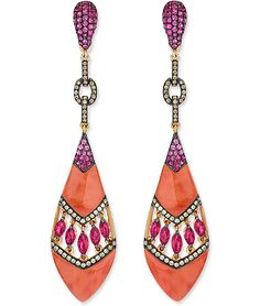 Cellini Jewelers, Wendy Yue Coral Drop Earrings  Carved coral drops with a middle open chevron section with marquise-shaped rubies bordered with rows of diamonds, and pink sapphires at the top; in 18-karat rose gold. Diamond weight: approximately 0.61 carat total; Ruby weight: approximately 2.40 carats total.