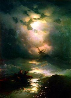 AIVAZOVSKY, Ivan (1817-1900)  The Shipwreck on Northern sea (Буря на Северном море) 1865 Ed. Orig. Lic. Ed.