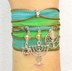 Jewish Silk Wrap Bracelet, Judaica Silk Wrap Bracelet, Star of David Silk Wrap Bracelet, Tree of Life Silk Wrap Bracelet, Menorah Silk Wrap Bracelet by Beadtography