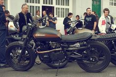 A Kawasaki zed cafe racer—at the Galerie 13 Avril in Biarritz for the opening of Wheels & Waves, Europe's top custom motorcycle show.