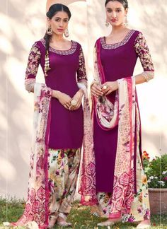 Patriarch and Multicolor6113 Embroidered Pure Cotton Satin Party Wear Designer Suit at Zikimo