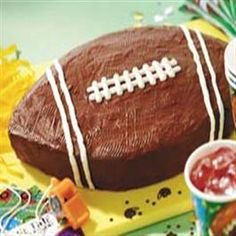 Football Cake - use an 8 inch round pan and an 8 inch square pan to make the football shape