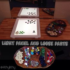 Light panel with loose parts and numbers