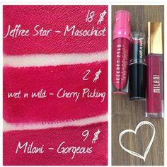Jeffree Star Cosmetics Velour Liquid Lipstick in Masochist $18 Dupes: Milani Gorgeous $9 Wet n Wild in Cherry Picking $2