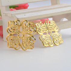Darmowa wysyłka 50 Sztuk Złota Tone Filigran Kwadrat Kwiat Okłady Złącza Metalowe Rzemiosło Dar Dekoracji DIY 35x35mm J3107