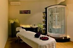 Massage therapy rooms, massage table, spa treatments, spa treatment room, m Massage Room Design, Massage Room Decor, Massage Therapy Rooms, Massage Table, Spa Treatment Room, Spa Treatments, Deco Zen, Esthetician Room, Spa Rooms