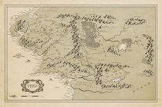middle earth map print lord of the rings fan art