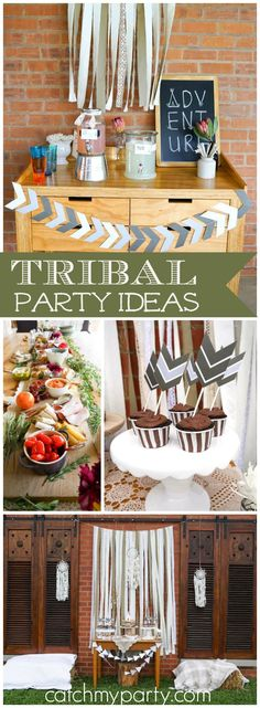 This first birthday party included teepees and tribal elements! See more party ideas at CatchMyParty.com!