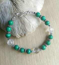 Malachite and Clear Quartz Bracelet! Handcrafted with plenty of Sterling Silver and a sprinkling of twinkling Swarovski crystals! Check out this item in my Etsy shop https://www.etsy.com/listing/250638978/malachite-clear-quartz-bracelet