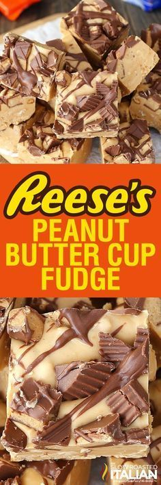 Reese's Peanut Butter Fudge is luscious and creamy, made with chunks of peanuts throughout the fudge to give it the perfect crunch. This Reese's Peanut Butter Fudge is a simple recipe with just (Ingredients Recipes Peanut Butter Cookies) Reeses Peanut Butter, Peanut Butter Recipes, Fudge Recipes, Candy Recipes, Sweet Recipes, Baking Recipes, Simple Recipes, Reese Fudge Recipe, Simple Fudge Recipe