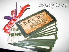 Printable Date Night Ideas.  Skip Valentine's Day Use Any Time Of The Year!  This Would Make A Great Birthday Gift.  The Date Ideas Are Fabulous. ♥