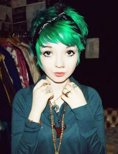 Green hair & a pixie cut...I wish I could pull the cut off!!