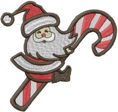"""This free embroidery design is called """"Santa and Candy Cane""""."""