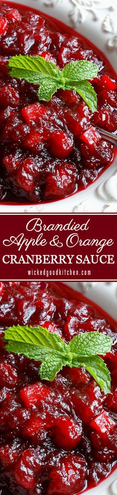 Brandied Apple & Orange Cranberry Sauce ~ The BEST Cranberry Sauce ever! Made with apple cider, chopped tart apple, fresh orange juice and zest, spiced and sweetened just right, with a splash of Grand Marnier® orange brandy. Everyone will rave and LOVE this recipe! Perfect for #Christmas!