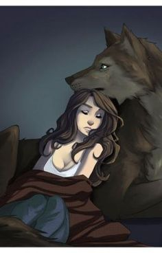 ((Open rp romance please, werewolf/shapeshifter. I'm the girl)) I lay curled against him, safe. My wolf comes to me at night to protect me.
