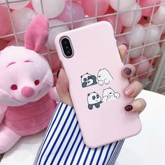 Funny Pink Phone Case with Bear Design