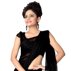 Black  Faux chiffon Saree With Blouse Online Shopping: SXS467