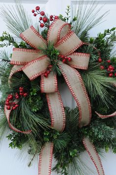 Christmas wreath with Burlap bow and by HeatherKnollDesigns