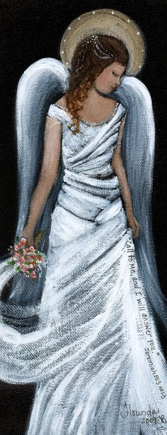 """sweet, beautiful angel - """"Answer"""" by florinda designs I Believe In Angels, Angels In Heaven, Heavenly Angels, Angels Among Us, Angel Pictures, Guardian Angels, Angel Art, Painting Inspiration, Painting & Drawing"""