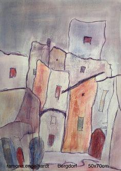 Urlaubserinnerungen an ein Bergdorf Painting, Art, Abstract, Art Background, Painting Art, Paintings, Kunst, Drawings, Art Education