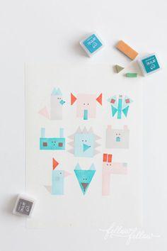 geometric animal stamps
