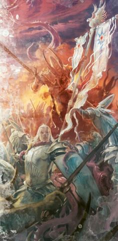 Warriors of Tiranoc and Saphery hold valiantly against the tide of daemons invading Ulthuan