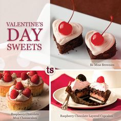 Valentine's Day Sweets Recipes | Tastefully Simple | Be Mine Brownies | Raspberry Chocolate Mini Cheesecakes | Raspberry Chocolate Layered Cupcakes