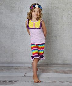 Love this Purple Ruffle Tank & Rainbow Shorts - Infant, Toddler & Girls on #zulily! #zulilyfinds