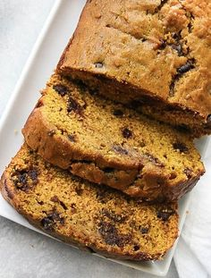 You will absolutely love this delicious Pumpkin Bread. It makes two loaves. One for you and one for a neighbor. Or just two for yourself, we don't judge. Pumpkin Chocolate Chip Bread, Pumpkin Bread, Pumpkin Spice, Pumpkin Recipes, Fall Recipes, Yummy Recipes, Yummy Food, Dessert Bread, Pumpkin Dessert