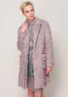 Fake Fur Chester Coat, Gingham Check Shirt and Skirt