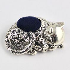 925 Sterling Silver Miniature Collectible Cat Kitten Pin Cushion 925 Sewing