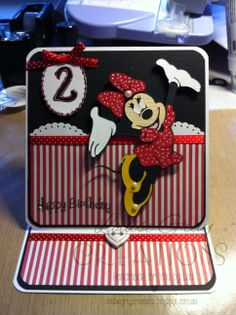 Birthday card featuring Minnie Mouse cut using Mickey and Friends cricut cartridge.  http://louisegraycreations.blogspot.com.au