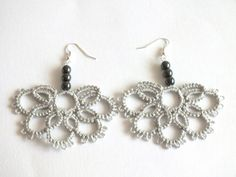 Grey Tatted Earrings with Hematite Beads Half Flower by Hermitinas