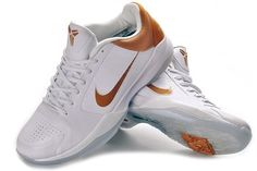 Nike Zoom Kobe V Mens Basketball Shoes - White/Gold For $67.90 Go To:  http://www.cheapkobeshoesmall.com