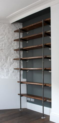 Reclaimed Scaffolding Boards and Steel Pipe Wall Mounted and Floor Standing Industrial Chic Shelving/Bookcase - Urban Design -- this looks like the best DIY industrial shelving I've seen. Office Shelving, Bookcase Shelves, Shelving Ideas, Pipe Bookshelf, Shelving Design, Wall Shelves, Storage Ideas, Wood And Pipe Shelves, Wooden Shelves Kitchen