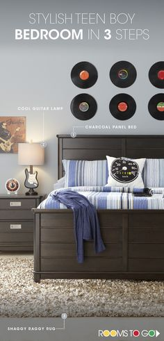 Discover the key pieces of a stylish teen boy's room with our Bay Street bedroom breakdown. Start with a panel bed in a cool charcoal finish to withstand your child's changing style. Add a guitar lamp for some music vibes, and finish with a funky shaggy rug. Visit Rooms To Go Kids now to see this cool teen room and many more!