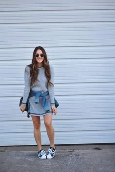 Sweater Dress + Sneaks casual outfit // Click through to the post on A Lo Profile to shop!