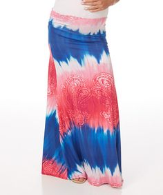 Look what I found on #zulily! Blue & Pink Paisley Mid-Belly Maternity Maxi Skirt - Women by PinkBlush Maternity #zulilyfinds