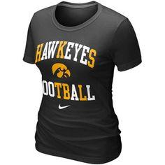 Nike Iowa Hawkeyes Ladies Football Gridiron T-Shirt - Black