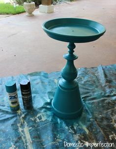 DIY birdbath {domestic imperfection} or can use a candlestick for the base