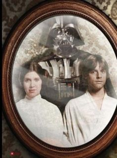 """Star Wars family portrait - love it!  """"Why I remember when you two were knee-high to an Ewok..."""""""