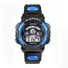 Vovotrade® Kinder Junge Digital LED Quartz Alarm Date Sport-Armbanduhr(Blau))