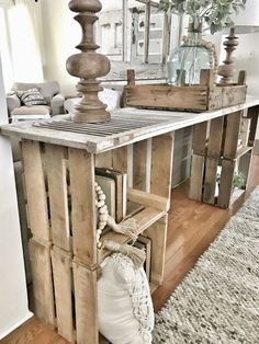Easy DIY Console Table | Bless This Nest Entryway Table Hanging Window Decorating with Crates Flea Market Finds