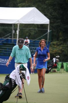 Holly Sonders at Wyndham Pro-Am with John Daly