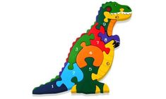 Alphabet Jigsaws Handcrafted Traditional Wooden Puzzle: Number T-Rex. A small work of art, designed in Ireland, entirely handcrafted, and therefore unique; cut from sustainable wood and then painted by hand in dazzling colours. Best Jigsaw, Wooden Jigsaw Puzzles, Kids Jigsaw, Woodworking Jigsaw, Wooden Numbers, Wood Projects For Kids, Scroll Saw Patterns, Puzzles For Kids, Wood Toys