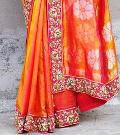 Vinayak Couture Orange Silk Saree with Dabka Work